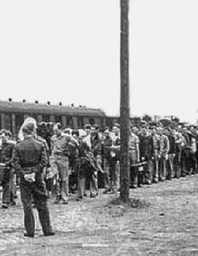 American POWs arrive at Barth, Germany-marching to Stalag Luft I