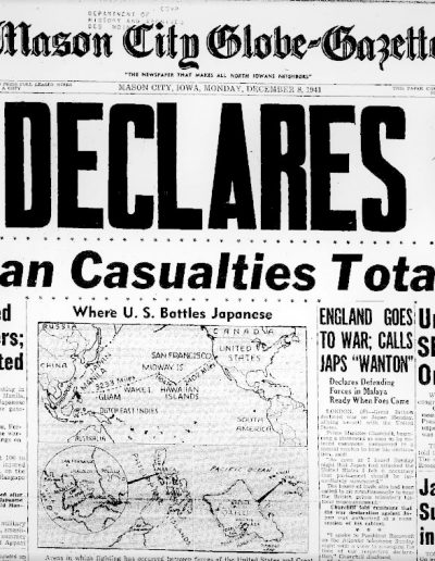 Front page news after the US declares war with Japan